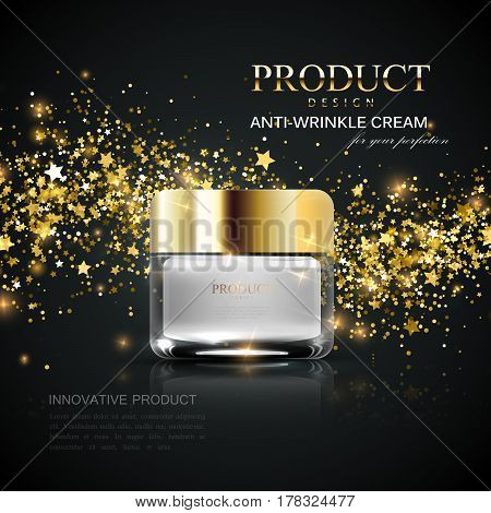 Cosmetics product ads. 3d vector beauty illustration of anti-wrinkles facial cream glass jar and golden wave of sparkles and stars. Package mock-up for fashion magazine poster design.