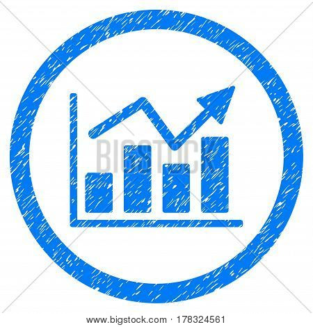 Bar Chart Trend grainy textured icon inside circle for overlay watermark stamps. Flat symbol with unclean texture. Circled vector blue rubber seal stamp with grunge design.