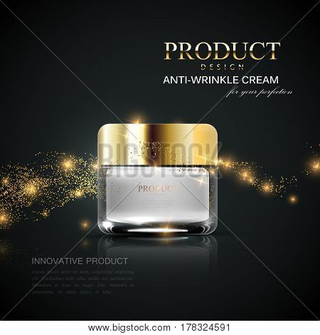Beauty cosmetics product ad. Cosmetics package design. 3d vector beauty illustration. Glamorous lifting cream jar with golden gradient lid and shiny glittering wave. Product package mock-up