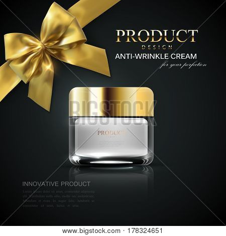 Cosmetic product ad. Cosmetics package design. Vector illustration. Moisturizing facial cream glass jar isolated on black reflective background with golden bow and ribbon. Beauty package mock-up