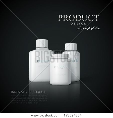 Medicine products ads on the black reflective background. Cosmetics package design. 3d vector pharmacy product illustration