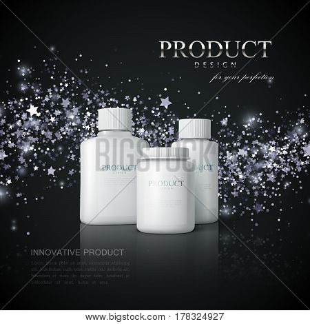 Medicine products ads on the black reflective background with shiny silver wave of sparkles. Cosmetics package design. 3d vector pharmacy product illustration