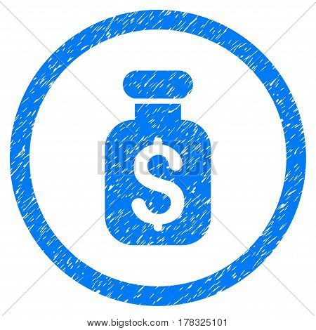 Business Remedy grainy textured icon inside circle for overlay watermark stamps. Flat symbol with dirty texture. Circled vector blue rubber seal stamp with grunge design.
