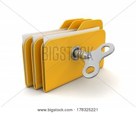 3D Illustration. Folder and files with winding key. Image with clipping path