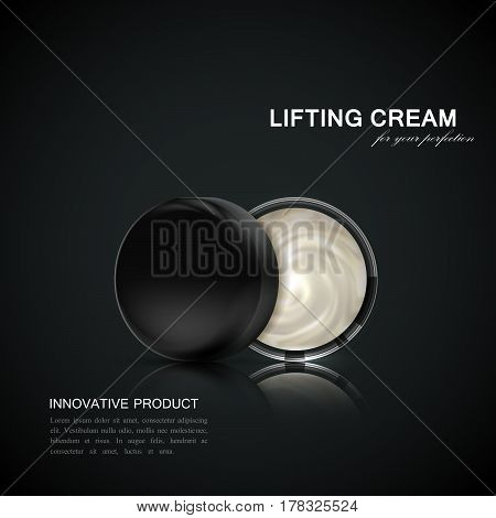 Lifting facial cream ads poster template. Cosmetics package design. 3d vector illustration. Hydrating facial lifting cream and glass jar isolated on black reflective background. Beauty package mock-up