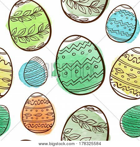 Hand drawn Easter seamless pattern with eggs and watercolor blobs on a white background