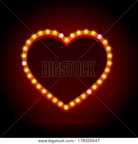 Light Bulbs Vintage Neon Glow Heart Frame Can Be Used for Cinema, Show or Cafe Bar Design. Vector illustration