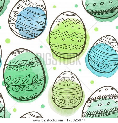 Hand drawn Easter seamless pattern with eggs and green watercolor blobs on a white background