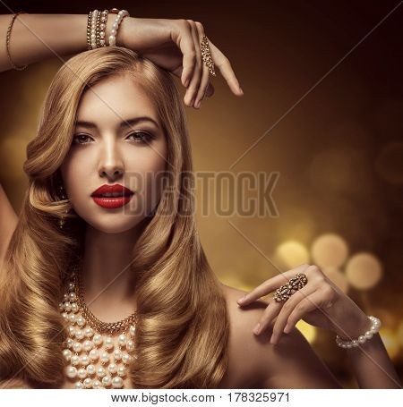 Woman Jewelry Beauty Fashion Model Makeup Portrait Beautiful Young Girl with Long Hair Posing Jewellery