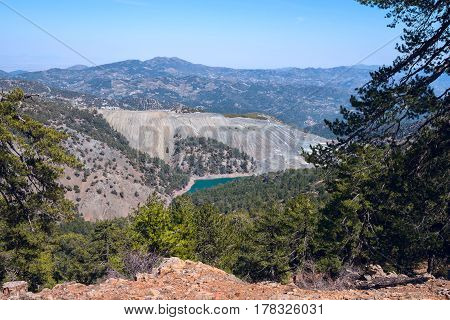 Mountain Lake Among Picturesque Ocher Slopes Of The Troodos