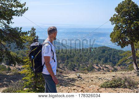 Bearded Man, Traveler Walk Along The Mountain Path