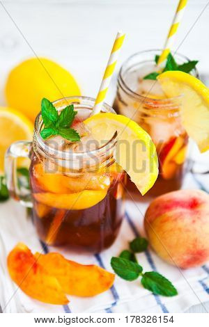Homemade Lemonade With Ripe  Peaches And Fresh Mint. Fresh Peach Ice Tea On White Wood Table. Copy S