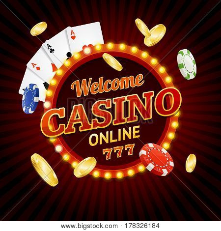Welcome Online Casino Concept Light Bulbs Vintage Neon Frame with Playing Cards and Poker Chips. Vector illustration