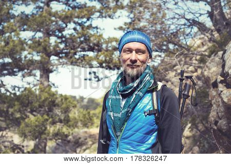 Bearded Man, Traveler Is Dreaming In The Mountains