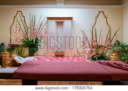 Spa room with bed for treatment