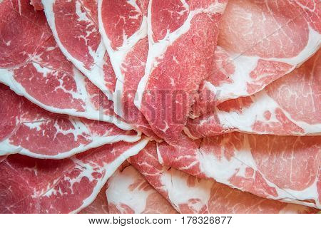 Sirloin Beef meat and Kurobuta Pork meat texture for food background