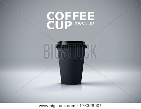 Paper coffee cup mock-up. Vector realistic 3d illustration. Package mockup design for branding