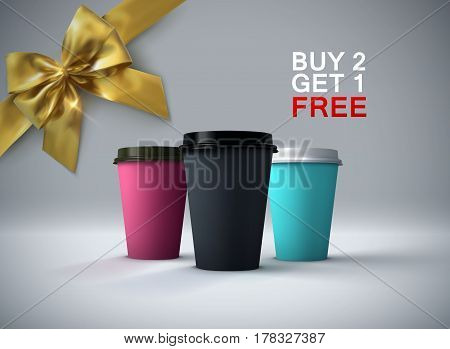 Coffee break. Paper coffee cups mockup with golden bow. Vector realistic 3d illustration. Package mock-up design for branding or ads. Buy 2 get 1 free promotional offer
