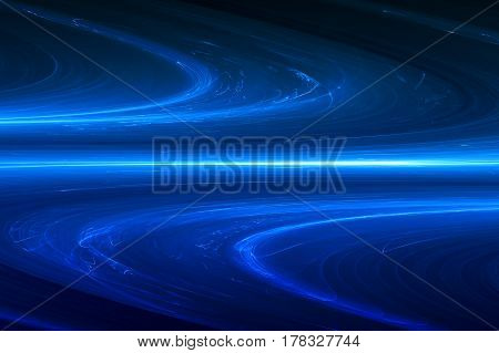 Blue Circular Glow Wave. Lighting Effect Abstract Background.