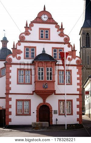 MAINZ, GERMANY - MARCH 22: The historic building of the municipal administration and the town hall of Gonsenheim on March 22, 2017 in Mainz.