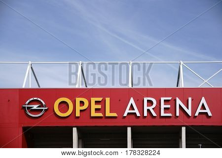 MAINZ, GERMANY - MARCH 22: A section of the facade and the roof edge of the Opel Arena of the soccer club 1. FSV Mainz 05 with logo on March 22 2017 in Mainz.