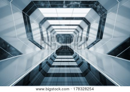 Creative futuristic tunnel interior. Space ship. 3D Rendering