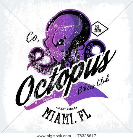Vintage American furious octopus bikers club tee print vector design isolated on white background.  Street wear t-shirt emblem. Premium quality wild cephalopod mollusk superior logo concept illustration.