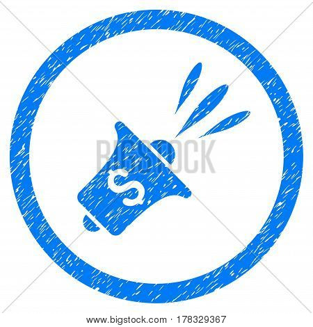 Financial News Rupor grainy textured icon inside circle for overlay watermark stamps. Flat symbol with scratched texture. Circled vector blue rubber seal stamp with grunge design.