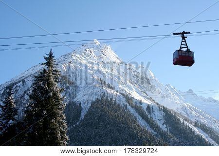 Funicular in the mountains of Dombai Caucasus