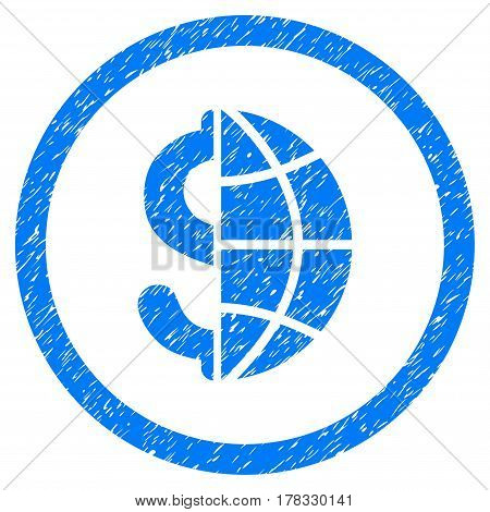 Global Business grainy textured icon inside circle for overlay watermark stamps. Flat symbol with unclean texture. Circled vector blue rubber seal stamp with grunge design.