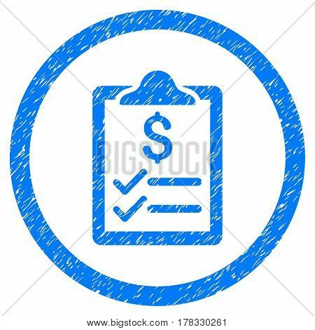 Invoice Pad grainy textured icon inside circle for overlay watermark stamps. Flat symbol with dust texture. Circled vector blue rubber seal stamp with grunge design.