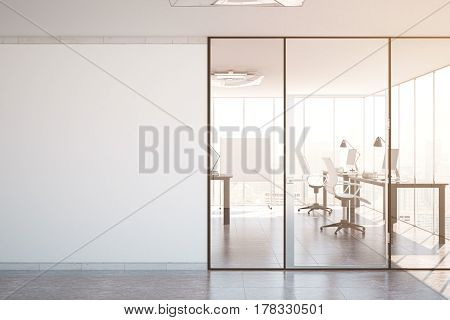 Contemporary simple office interior with glass doors blank wall with copy space city view and daylight. Toned image. Mock up 3D Rendering