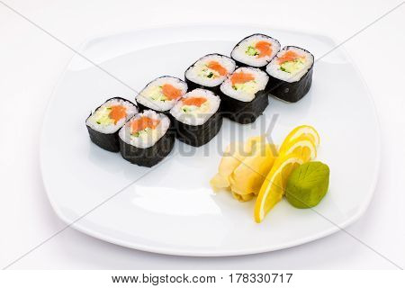 sushi plate with sushi, white background, sushi set