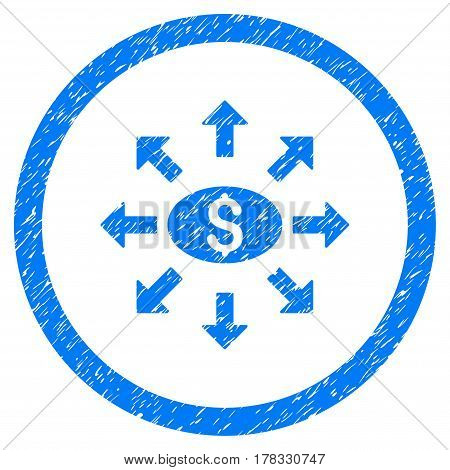 Mass Cashout grainy textured icon inside circle for overlay watermark stamps. Flat symbol with dust texture. Circled vector blue rubber seal stamp with grunge design.