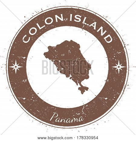 Colon Island Circular Patriotic Badge. Grunge Rubber Stamp With Island Flag, Map And Name Written Al