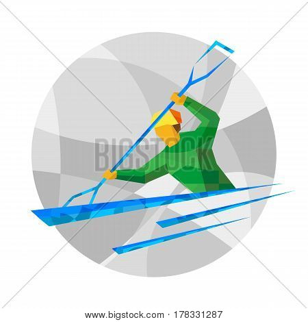 Rower In Boat On Gray Background With Abstract Patterns