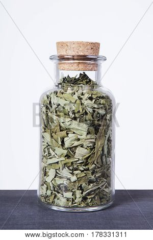 Dried fireweed (Rosebay willowherb) herb inside a glass jar. Herbs and plants for tea.