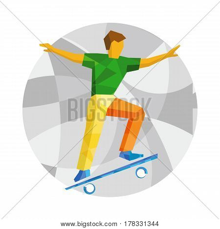 Skateboarder Jump On Skateboard.