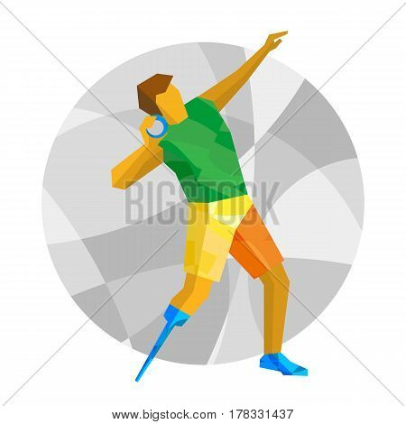 Physically Disabled Sportsman Throwing Shot