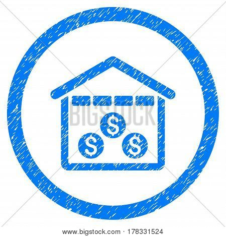 Money Depository grainy textured icon inside circle for overlay watermark stamps. Flat symbol with dust texture. Circled vector blue rubber seal stamp with grunge design.