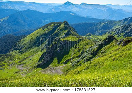 Beautiful Panorama Of The Mountains In The Spring