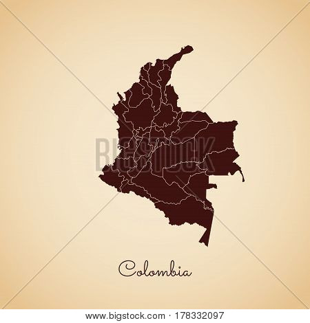 Colombia Region Map: Retro Style Brown Outline On Old Paper Background. Detailed Map Of Colombia Reg