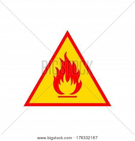 Flammable sign, flame pictogram. Triangle vector icon sign