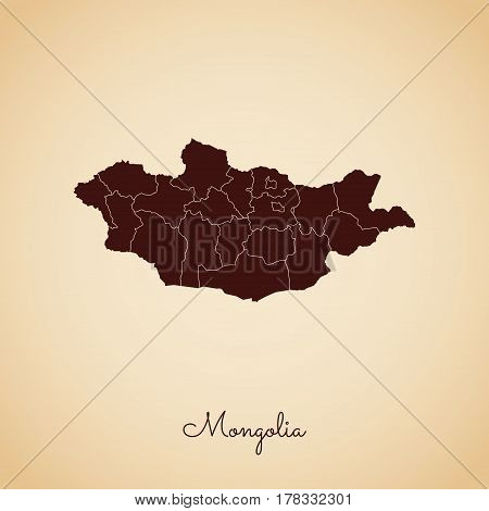 Mongolia Region Map: Retro Style Brown Outline On Old Paper Background. Detailed Map Of Mongolia Reg