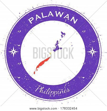 Palawan Circular Patriotic Badge. Grunge Rubber Stamp With Island Flag, Map And Name Written Along C