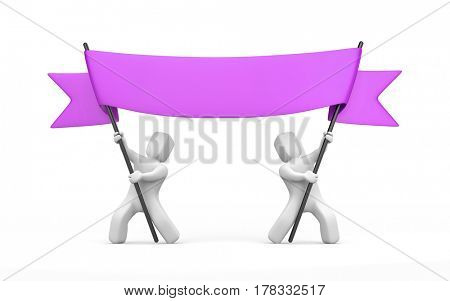 Two 3D character stretch purple banner. 3d illustration
