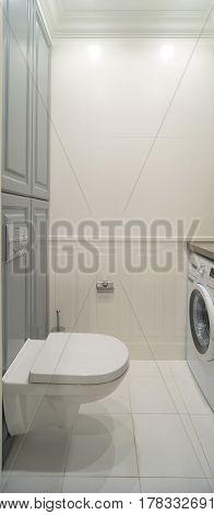 white wc Toilet room hanging toilet washing machine
