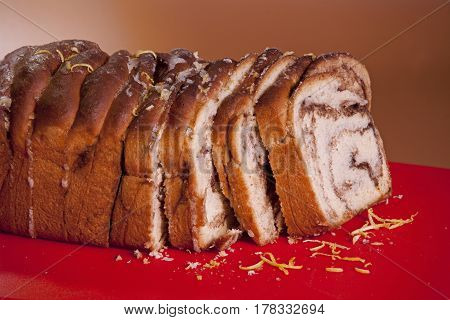 slice freshly Sweet bread. Sweet with cinnamon