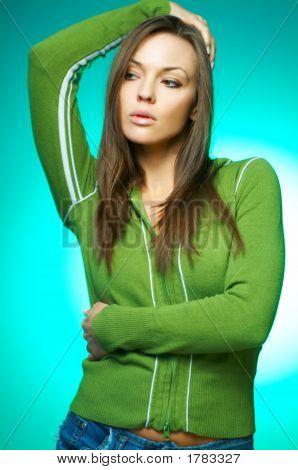 Woman Portrait On Green