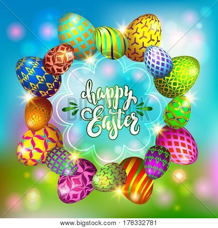 Multi colored easter eggs on a blurred blue background with the hand drawn lettering Happy Easter